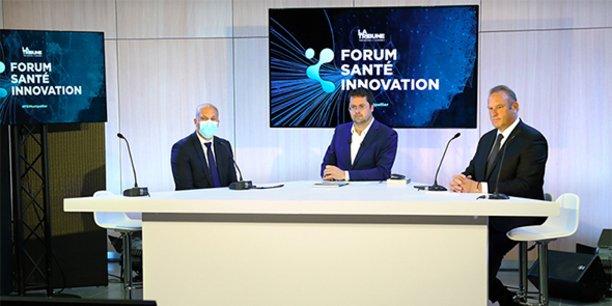 Le Forum Santé Innovation de Montpellier, 18 mai 2021, accueillait sur une 2e table ronde animée par Guillaume Mollaret (au centre) avec notamment François Bérard (CHU Montpellier) et Lamine Gharbi (Fédération de l'Hospitalisation Privée).