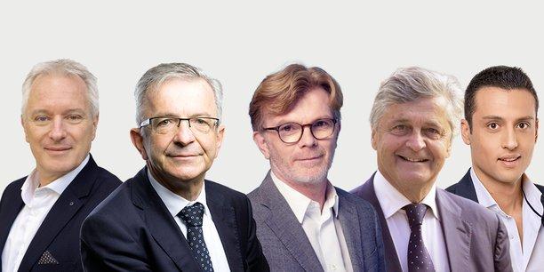 Charles Fournier (EELV), François Bonneau (PS), président sortant, Marc Fesneau (Modem), Nicolas Forissier (LR) et Aleksandar Nikolic (RN).