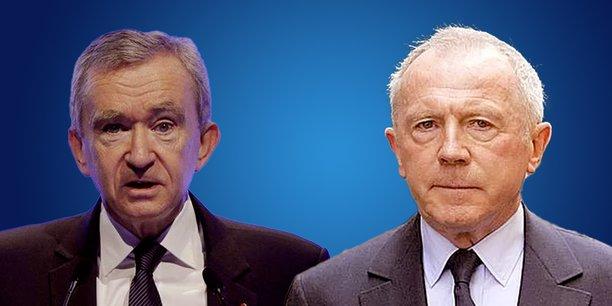 Bernard Arnault (à gauche) et François Pinault (à droite).