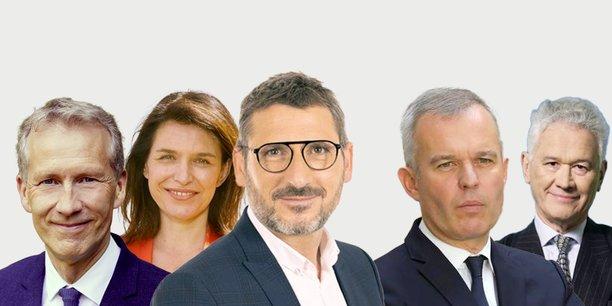 Les candidats (de gauche à droite) : Guillaume Garot (PS), Christelle Morançais (LR), présidente sortante, Matthieu Orphelin (EELV, Génération écologie, Générations, LFI...), François de Rugy (LREM) et Hervé Juvin (RN).