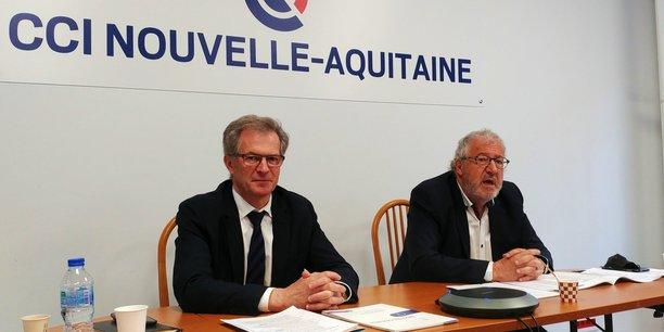 Jean-François Clédel, le président de la CCI Nouvelle-Aquitaine, et Hervé Fauchet, le président de la CCI Rochefort-Saintonge, ont présenté les 21 propositions du monde économique en vue des élections régionales des 20 et 27 juin 2021.