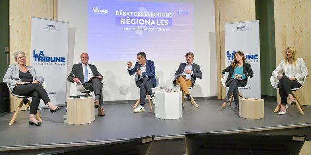 Geneviève Darrieussecq, Alain Rousset, Nicolas Thierry, Nicolas Florian, Clémence Guetté et Edwige Diaz.