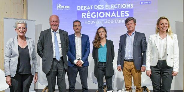 Geneviève Darrieussecq, Alain Rousset, Nicolas Thierry, Clémence Guetté, Nicolas Florian et Edwige Diaz ont participé au débat organisé par La Tribune le 3 juin 2021.