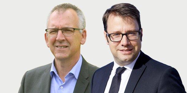 Thierry Burlot, (nous la Bretagne !) candidat aux élections régionales (LREM-MoDem-UDI) et le président sortant (La Bretagne avec Loïg) Loig Chesnais-Girard (PS).