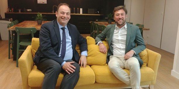 Philippe Dorge, directeur général adjoint du Groupe La Poste, et Thierry Chardy, directeur général de Mavillemonshopping.fr, détenue majoritairement par La Poste.