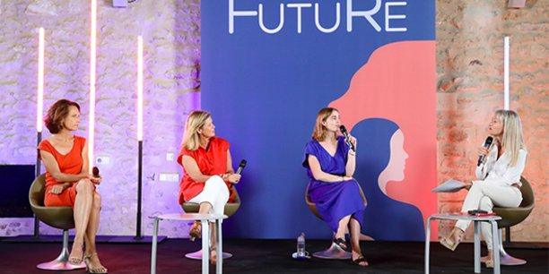 Sur l'une des tables rondes des W4F 2021 à Montpellier : Karine Moreau (directrice du développement, Predict Services),  Frédérique Picard-le-Bihan (présidente de DareWomen) et Camille Le Gal, co-founder de Fairly Made.
