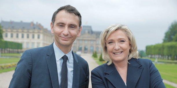Dans le Grand Est comme ailleurs en France, les échéances nationales semblent parfois écraser les enjeux des régionales. Ici, c'est Marine Le Pen et Laurent Jacobelli.