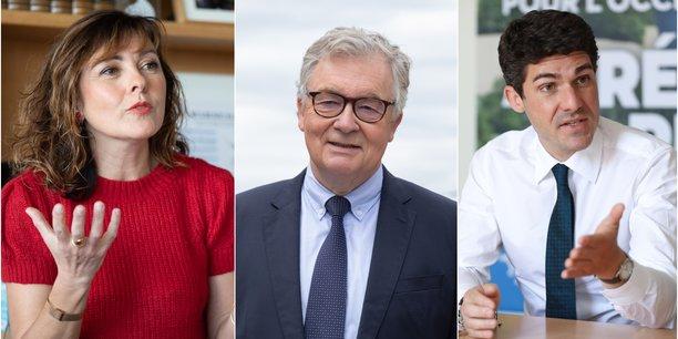 Carole Delga (PS), Jean-Paul Garraud (RN) et Aurélien Pradié (LR) vont s'affronter dans une triangulaire aux élections régionales d'Occitanie.
