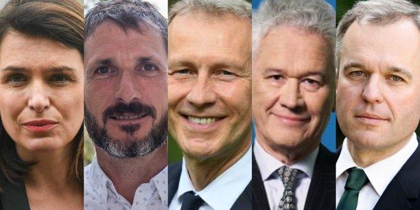Les candidats (de gauche à droite) : Christelle Morançais (LR), présidente sortante, Matthieu Orphelin (EELV, Génération écologie, Générations, LFI...) et Guillaume Garot (PS) qui vont fusionner leurs listes pour le second tour, Hervé Juvin (RN) et François de Rugy (LREM).