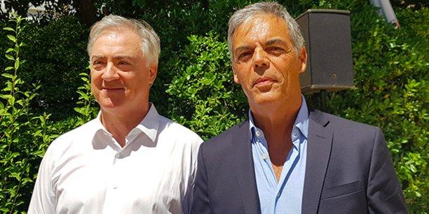 Michel Fréjaville et Michel Aimes, vice-président et président de la nouvelle agence de développement économique de Béziers.