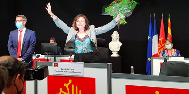 La socialiste Carole Delga réélue présidente lors de l'assemblée plénière du Conseil régional d'Occitanie le 2 juillet 2021.