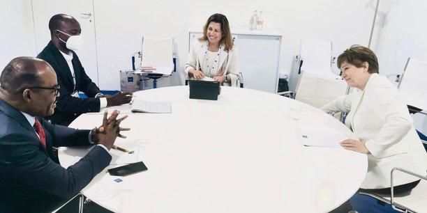 Nicolas Kazadi et Kristalina Georgieva (d), lors de lé réunion tenue le 10 juillet à Venise en marge du G20 Finances.