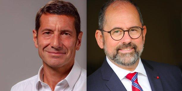 De gauche à droite: David Lisnard, maire (LR) de Cannes, et Philippe Laurent, maire (UDI) de Sceaux, désormais rivaux pour succéder, en novembre, à François Baroin à la présidence de l'Association des maires de France.