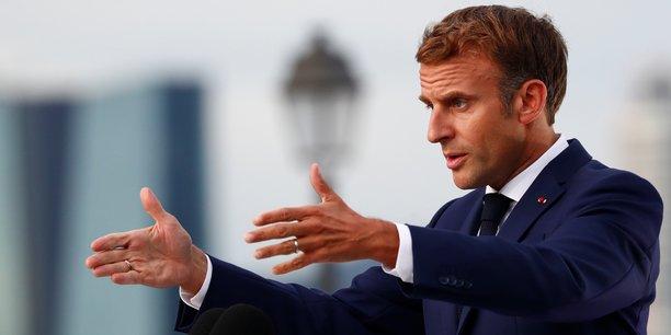 Le président de la République Emmanuel Macron lors de son discours jeudi 2 septembre au Palais du Pharo à Marseille.