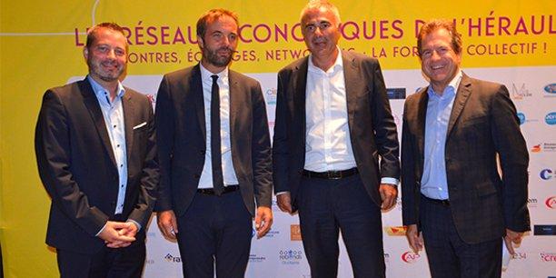 Lors de la soirée de la Rentrée des réseaux, organisée par la CCI Hérault le 23 septembre : Grégory Blanvillain (président de la commission des réseaux à la CCI), Michaël Delafosse (maire de Montpellier et président de la Métropole), Pierre Pelouzet (médiateur des entreprises) et André Deljarry (président de la CCI Hérault).