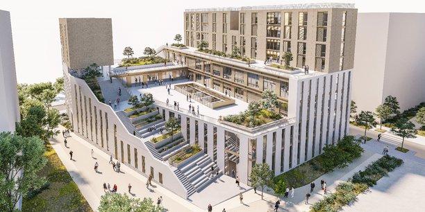 Visuel du futur bâtiment du campus François d'Assise à Bordeaux Euratlantique dessiné par l'architecte Olivier Brochet (cabinet BLP).