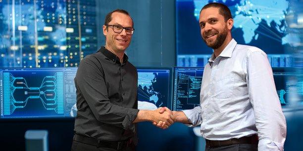 Stéphane Jaillet, directeur de la stratégie cybersécurité d'Exodata Cyberdefense (à gauche) et Julien Mauras, président du groupe Exodata (à droite).