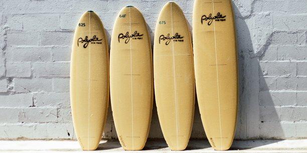 Les planches de surf de Polyola sont fabriquées avec une mousse polyuréthane plus jaune que blanche et recyclable.