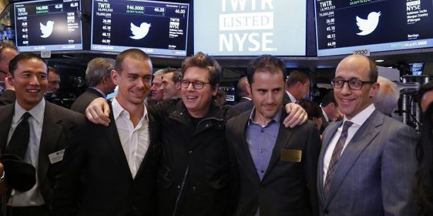 Les co-fondateurs de Twitter : Dick Costolo, Evan Williams, Biz Stone et Jack Dorsey lors du lancement officiel du site en Bourse ce jeudi au New York Stock Exchange.