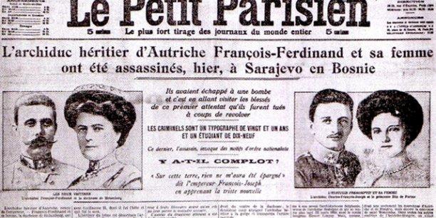 La une du Petit Parisien annonçant l'assassinat du prétendant au trône des Habsbourg, François Ferdinand le 28 juin 1914./ DR