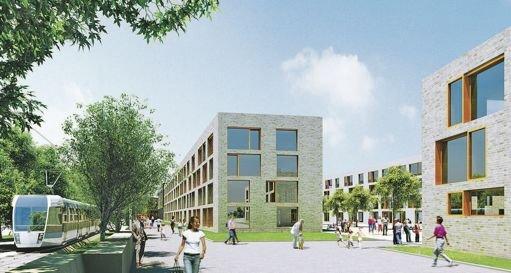 Une image virtuelle du nouveau quartier, qui serait construit sur le site d'une ancienne gare de marchandises./ DR