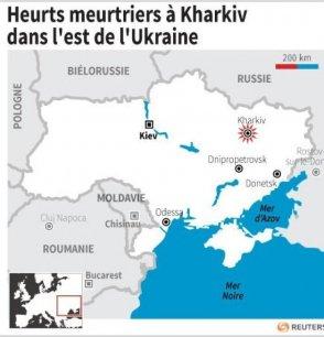 Deux personnes ont été tuées à Kharkiv, dans le nord-est de l'Ukraine, au cours d'affrontements entre des partisans de Moscou et un groupe non identifié, ont rapporté vendredi soir des médias ukrainiens.