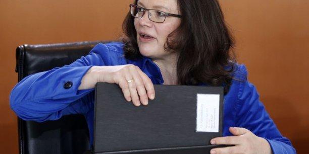 La ministre fédérale allemande du Travail, Andrea Nahles, a préparé la loi qui entrera en vigueur au 1er janvier