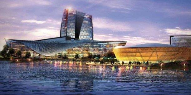 La ville aéroport de Guangzhou, en Chine. Le projet, conçu par le cabinet Woods Bagot, s'inscrit parfaitement dans le concept d'aerotropolis inventé par John Kasarda. / DR