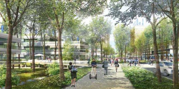 Entre les lignes des RER A et E, la cité Descartes accueillera un quartier durable. / DR