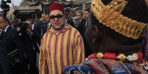 Le roi Mohammed VI lors de sa tournée diplomatique très constructive, qui aura duré trois semaines, en Afrique subsaharienne (Côte d'Ivoire, Guinée Conakry, Gabon et Mali), en février-mars 2014.