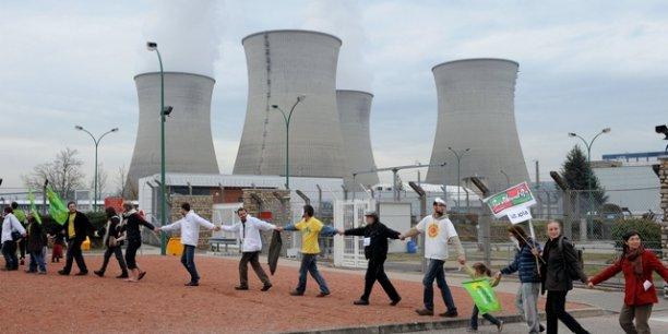 Manifestation d'écologistes en mars 2011, constestant la sécurité de la centrale du Bugey. ©Laurent Cerino/Rea