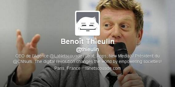 Capture d'écran du compte Twitter de Benoît Thieulin, président du Conseil national du numérique.