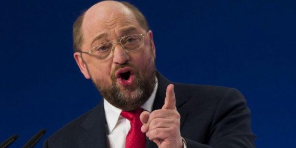 Martin Schulz, le candidat social-démocrate à la présidence de la Commission européenne, se dit prêt à accorder un nouveau délai d'un an à la France pour ramener son déficit sous les 3% du PIB. / Reuters