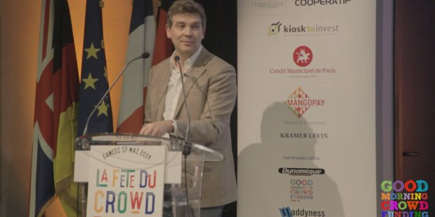 Le premier discours d'Arnaud Montebourg sur le Crowdfunding samedi dernier. / DR