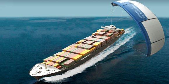 Poétique et efficace : le navigateur Yves Parlier veut tracter les navires à l'aide de cerfs-volants géants. / DR