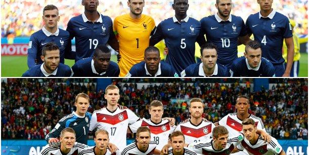 Quatrième opposition en Coupe du monde entre la France et l'Allemagne. 17 buts ont déjà été marqués lors des trois premières confrontations. (Reuters)