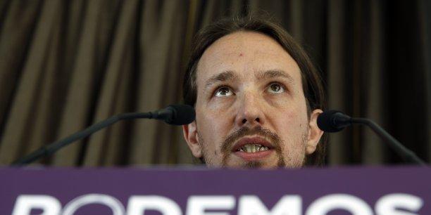 Pablo Iglesias, le leader du parti Podemos, donné premier parti d'Espagne par un sondage.