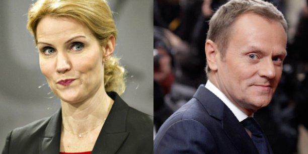 La chef du gouvernement danoise, Helle Thorning Schmidt et le président du Conseil des ministres polonais, Donald Franciszek Tusk, sont candidats à la présidence du conseil européen