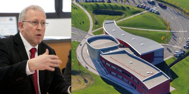 Bernard Rigaud (à gauche), directeur de l'école d'ingénieurs Isis (vue aérienne à droite)