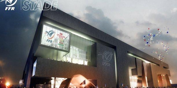 Une vue de l'extérieur du projet de Grand Stade de la FFR
