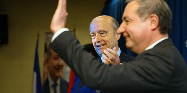 Alain Juppé et Jean-Luc Moudenc, hier soir, salle Barcelone à Toulouse