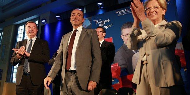 De gauche à droite : Jean-Luc Moudenc, maire de Touloue, Jean-François Copé, président de l'UMP, et Michèle Alliot-Marie, tête de liste UMP aux élections européennes pour le Sud-Ouest.