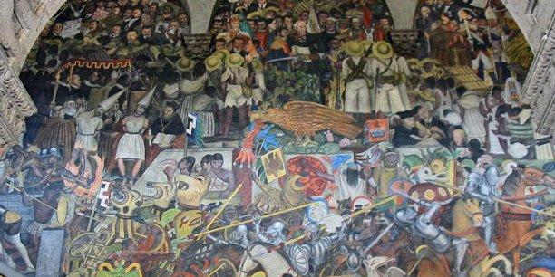 L'épopée du Peuple Mexicain, une fresque du peintre mexicain Diego Rivera au Palais National (droits Evilfreak86 - Wikipedia)