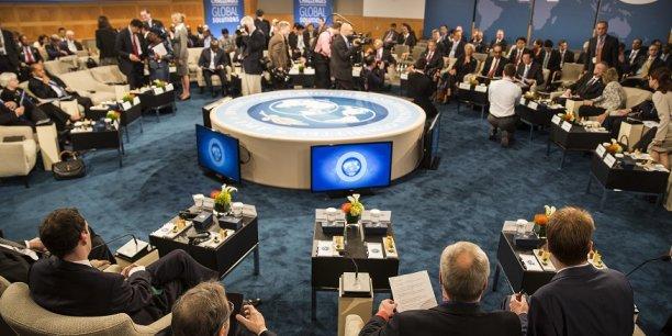 Vue de la réunion du  Comité Monétaire et Financier International du FMI, le 11 octobre avant la réunion annuelle à Washington (Etats-Unis) du FMI et de la Banque centrale. Olivier Blanchard, l'économiste en chef du FMI, a promis du sang et des larmes à l'Europe... et au reste du monde, si la croissance ne repart pas.