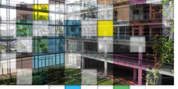 Visuel conçu à partir du bâtiment de l'IAE Bordeaux