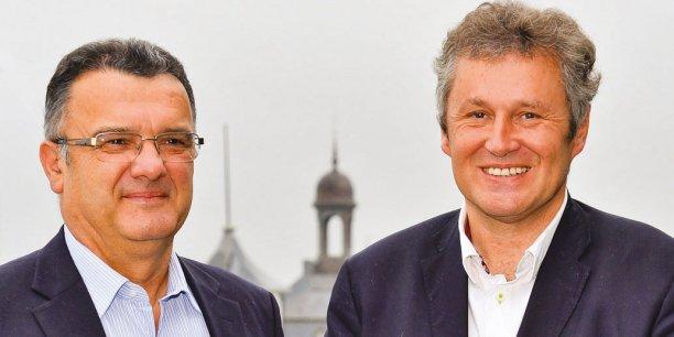 Michel Prugue, président de Maïsadour, et Thierry Blandinières, directeur général d'InVivo