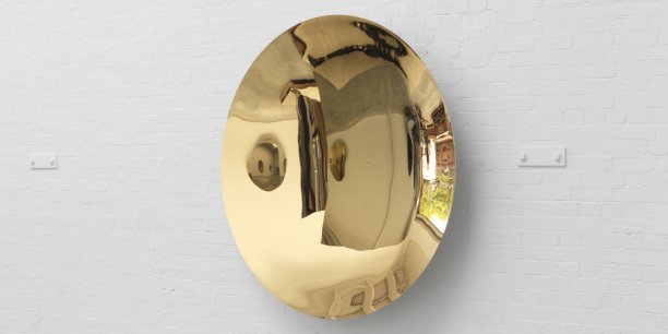 Anish Kapoor Untitled 2014 Stainless steel and gold plate 168.5 x 168.5 x 22 cm , 66.3 x 66.3 x 8.7 in