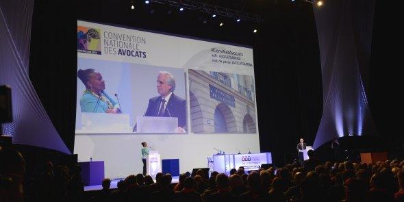 La Garde des Sceaux Christiane Taubira, ce jeudi 30 octobre à Montpellier pour la Convention nationale des avocats, face à Jean-Marie Burguburu, le président du Conseil national des barreaux.