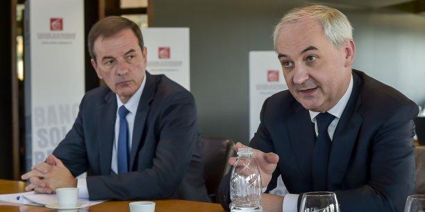 Jean-François Paillissé, président du directoire de la Caisse d'épargne Aquitaine Poitou-Charentes et François Pérol, président du groupe BPCE (Banque populaire - Caisse d'épargne)