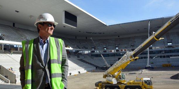 Jean-Louis Triaud, président des Girondins de Bordeaux, visitait il y a quelques semaines le chantier bien avancé du futur stade de Bordeaux.